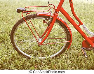 retro, látszó, bicikli, részletez