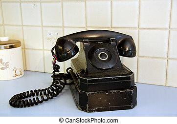 retro, línea de partido, teléfono