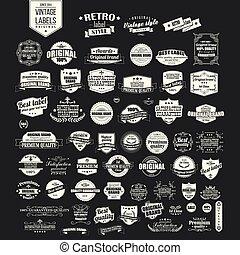 retro label premium quality badge set