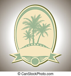 summer icon - retro labels with summer icon - vector