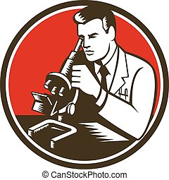 retro, labor, vegyész, kutató, természettudós, mikroszkóp