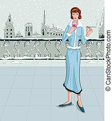 Retro lady with wine glass