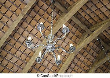retro, lampe, hängender , in, kaffeestube