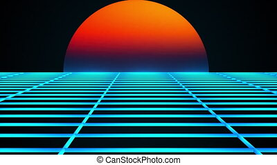 Retro landscape of the 80s. Computer generated futuristic sunset and surface of grid. 3D rendering retro background.