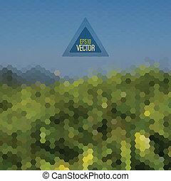 Retro landscape pattern of geometric shapes.