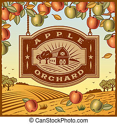 Retro landscape with Apple Orchard sign in woodcut style. Vector illustration with clipping mask.