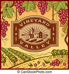 Vineyard Valley - Retro landscape with Vineyard Valley sign ...