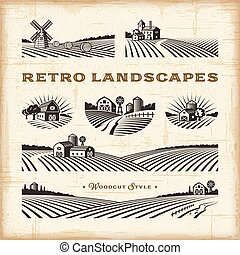 Retro landscapes set