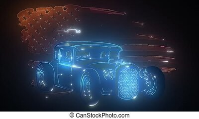 retro, laser, animation, voiture, muscle