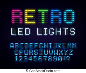 Retro led font. Old style glowing abc. Vintage neon typeface.