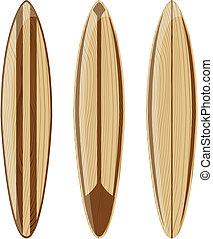 retro, legno, surfboad
