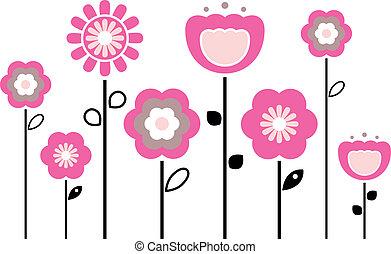 retro, lentebloemen, vrijstaand, op wit