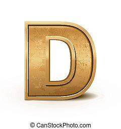 retro, lettre, doré, d, 3d