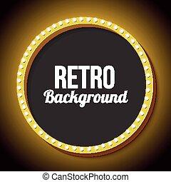 retro, lichten, cirkel, neon, frame