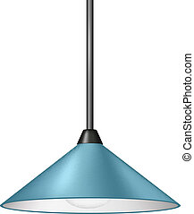 Retro light blue hanging lamp on white background