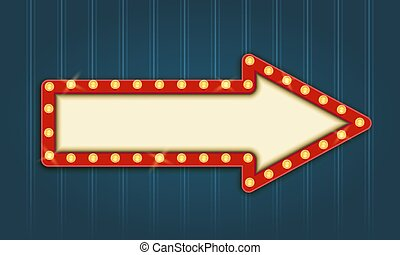 Retro Lightbox Arrow Shape Template With Red Border and Round Corners