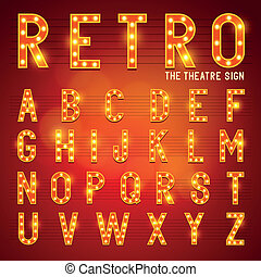 Retro Lightbulb Alphabet Glamorous showtime theatre...