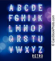 Retro Lightbulb Theatre Letters - Retro lightbulb glowing...