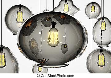 Retro lightbulbs on a white wall