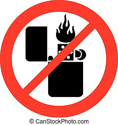 retro lighter with flame not not allowed sign (prohibition...