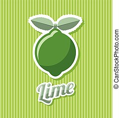 Retro lime with title on striped background