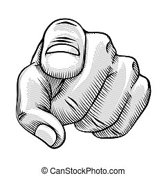 Retro line drawing of a pointing finger and human hand pointing directly at the viewer vector illustration