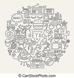Retro Line Icons Circle
