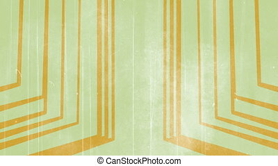 Retro lines light green and orange looping background