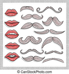 Retro lips and mustaches elements set.