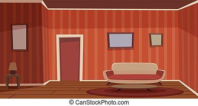 Retro Living Room - Cartoon illustration of the retro living...