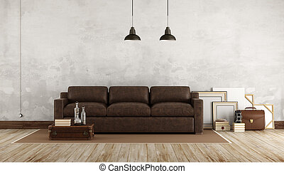 Retro living room with leather sofa - 3d rendering