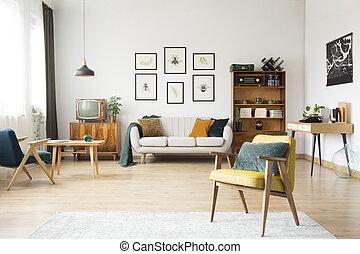 Retro living room interior