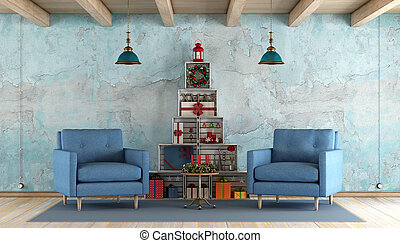 Retro living room with christmas decorations