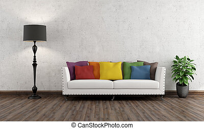 Retro living room with colorful couch on wooden floor - 3D...