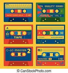 retro, ljud kasetter, sätta, 2