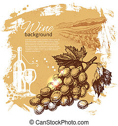 retro, loccsanás, kéz, bor, folt, tervezés, háttér., szüret, illustration., húzott
