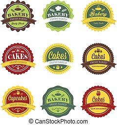 retro, logo, collection, boulangerie, étiquettes, vendange
