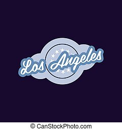 Retro logo of Los Angeles city. California, USA. Stylish graphic element. Vector icon with circle and stars