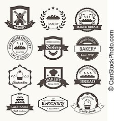 retro, logos, bakkerij, etiketten, kentekens
