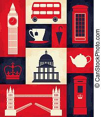 retro, london, plakat
