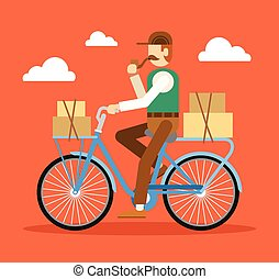 Retro London postman on a bicycle