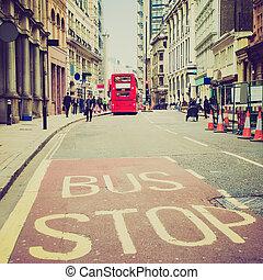 Retro look City of London - Vintage looking Busy street in...