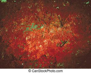 Retro look Maple leaves - Vintage looking Canadian Red Maple...