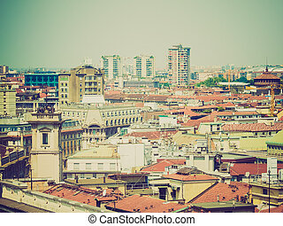 Retro look Milan, Italy - Vintage looking View of the city ...