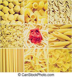 Retro look Pasta collage