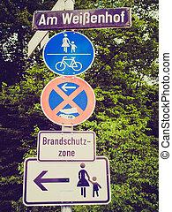 Retro look Pedestrian area sign - Vintage retro looking A ...