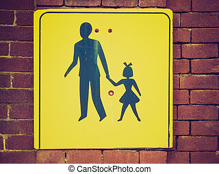 Retro look Pedestrian area sign