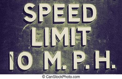 Retro look Speed limit sign - Vintage retro looking A...
