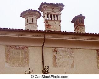 Retro look St Peter church in Cherasco