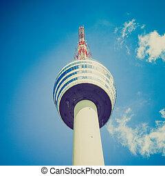 Retro look TV tower in Stuttgart - Vintage looking Fernseh...